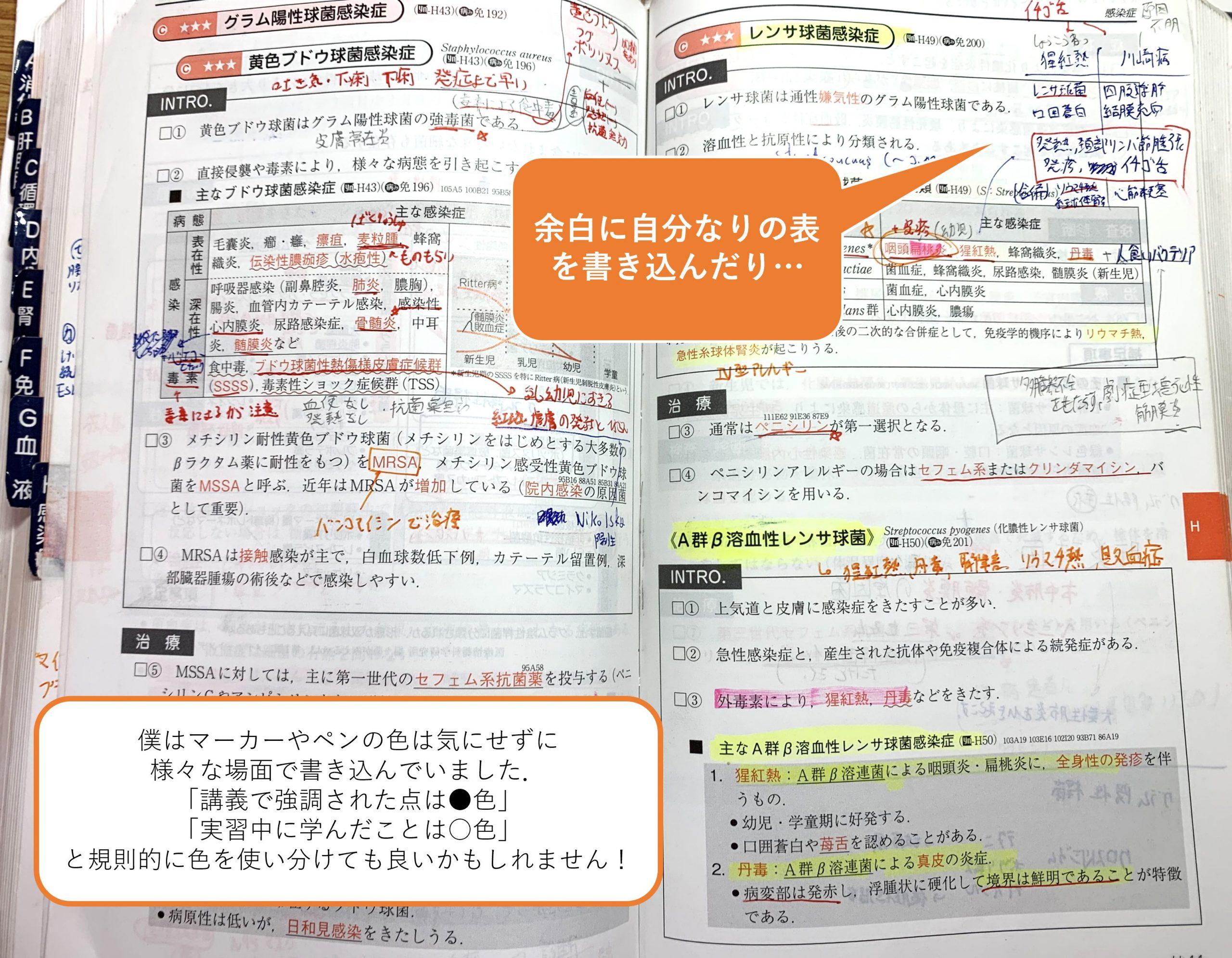 レビューブック内科・外科への書き込みの例1 表の書き込みやマーカー等
