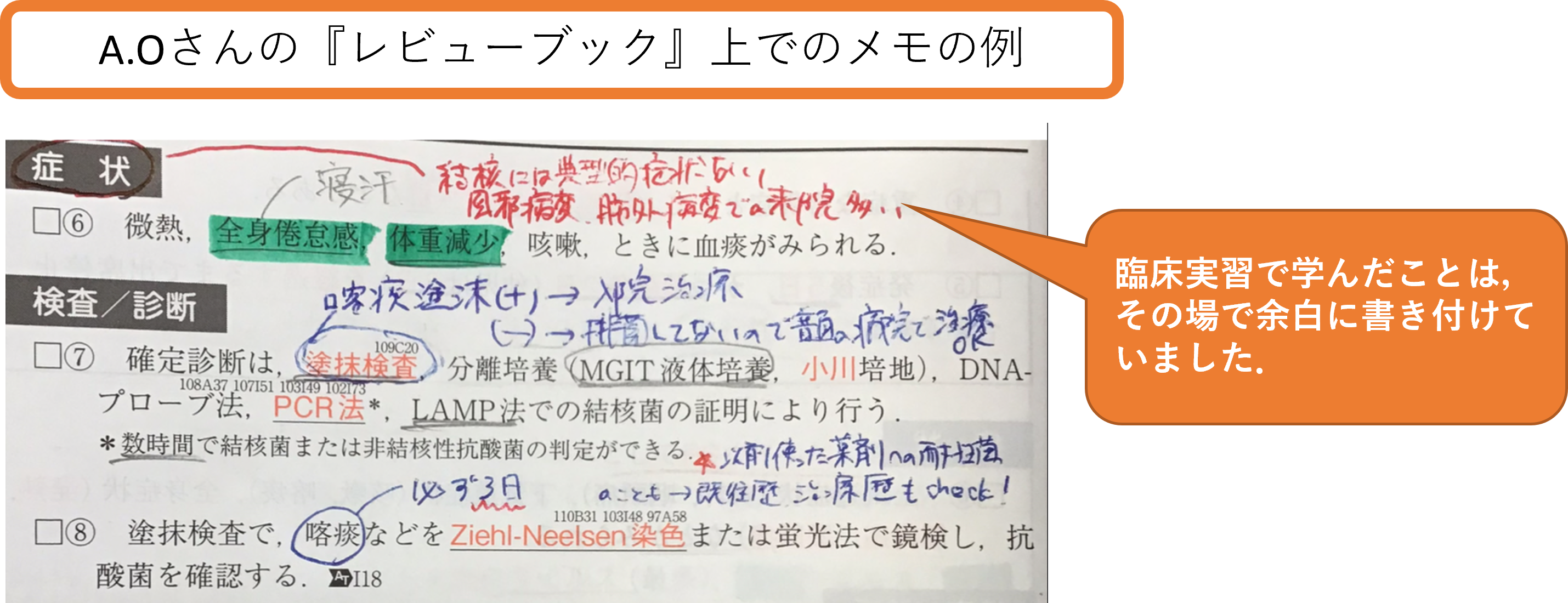 レビューブック内科・外科上に書きつけるメモの例